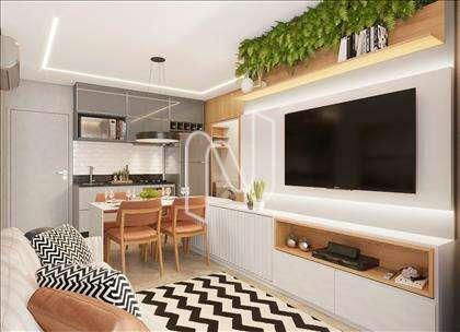 Sala de estar com cozinha integrada