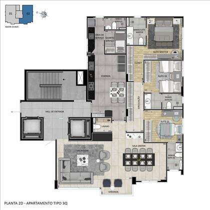 Planta 3 quartos com 4° quarto aberto p sala