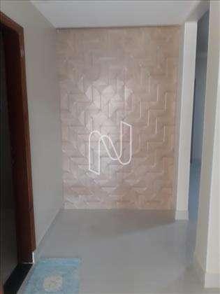 Hall de entrada com parede em 3 D.
